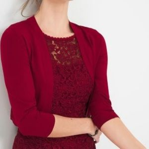 WHBM 3/4 Sleeve Open Bolero Shrug Cardigan Red XS